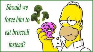 Homer with donut and broccoli
